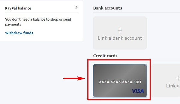 """Chọn """"Credit Cards"""""""