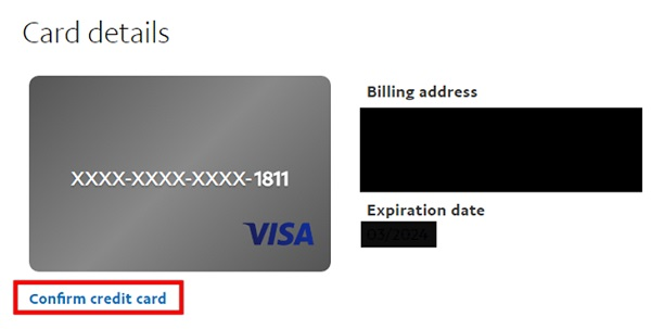 """Chọn """"Confirm Credit Card"""""""